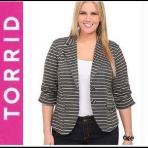 Torrid Gray and White Buttoned Stripe Blazer 2X
